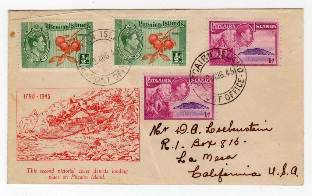 PITCAIRN ISLANDS: 1945 COVER TO USA.