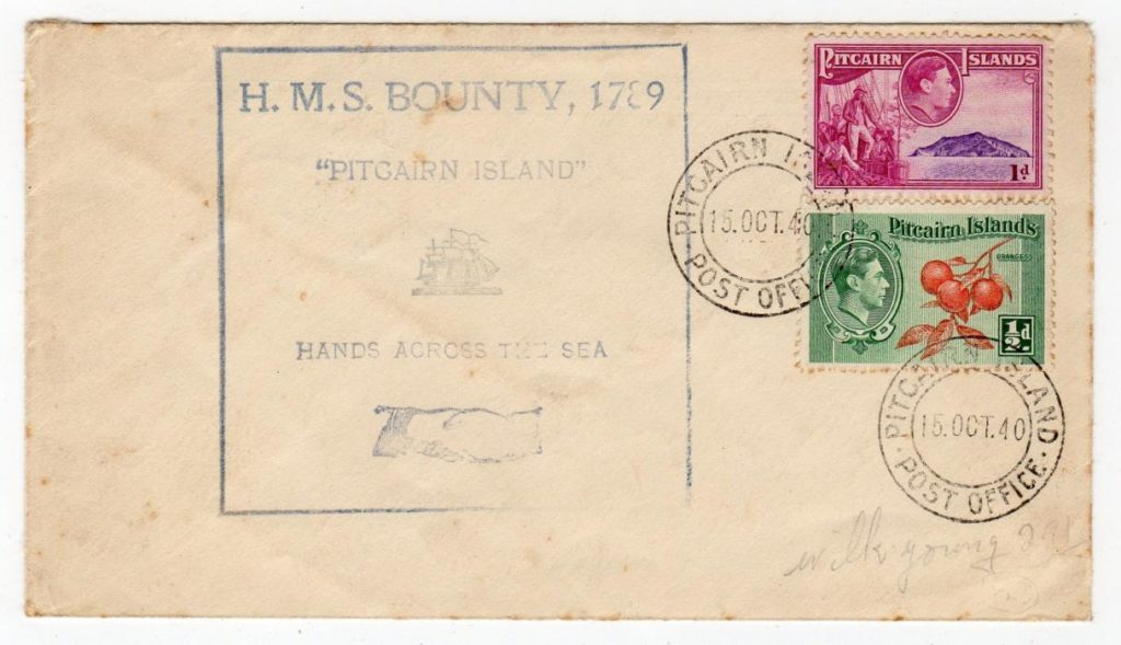 PITCAIRN ISLANDS: 1940 FIRST DAY COVER WITH HMS BOUNTY CACHET.