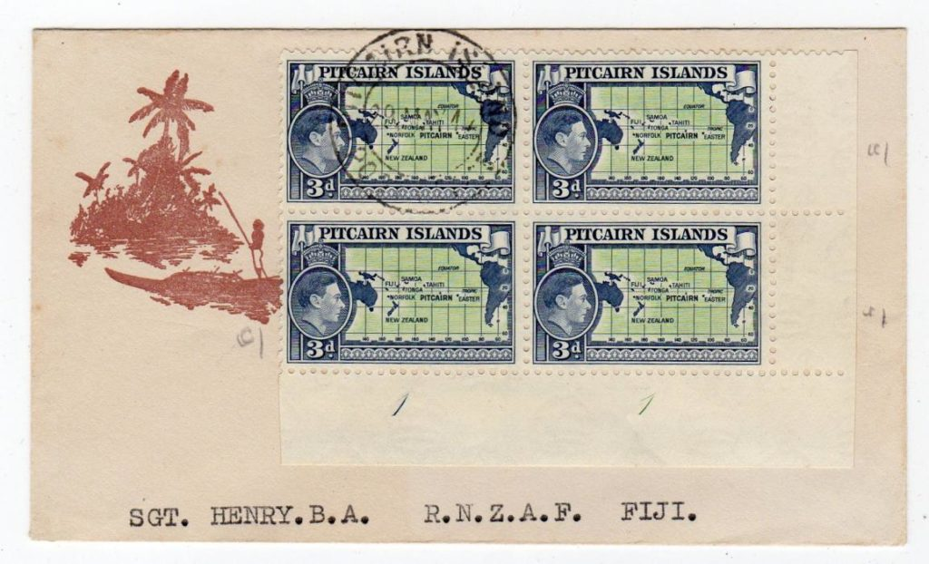 PITCAIRN ISLANDS: 1947? COVER TO R.N.Z.A.F IN FIJI.