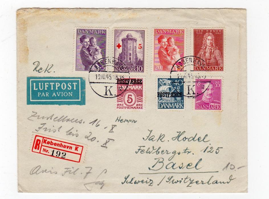 DENMARK: 1945 REGISTERED AIRMAIL COVER TO SWITZERLAND.