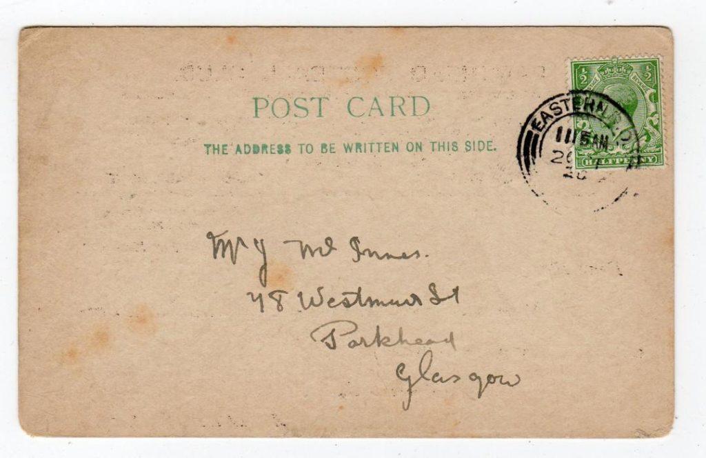 SCOTLAND - GLASGOW: 1920 PRINTED POSTCARD FROM PARKHEAD FOOTBALL CLUB.