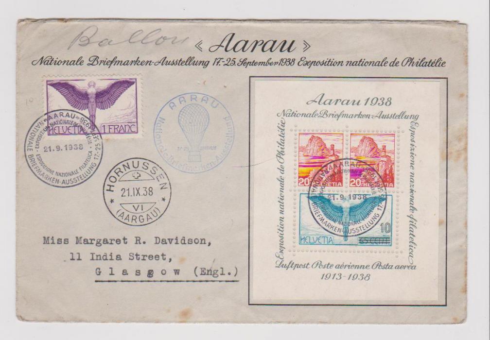 SWITZERLAND PHILATELIC EXHIBITION MINI-SHEET 1938 ON SPECIAL ENVELOPE