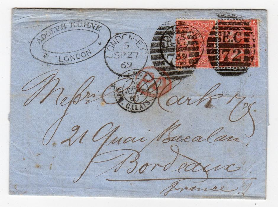 GB - LONDON: 1869 ENTIRE LETTER TO FRANCE.
