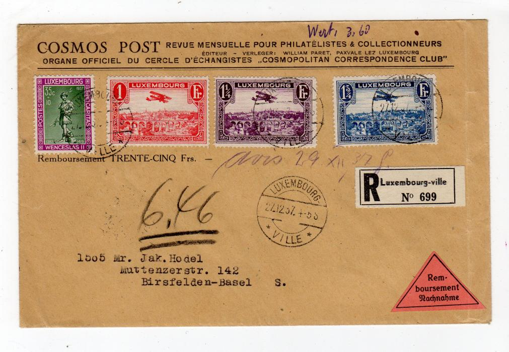 LUXEMBOURG: 1937 REGISTERED NACHNAHME COVER TO SWITZERLAND.