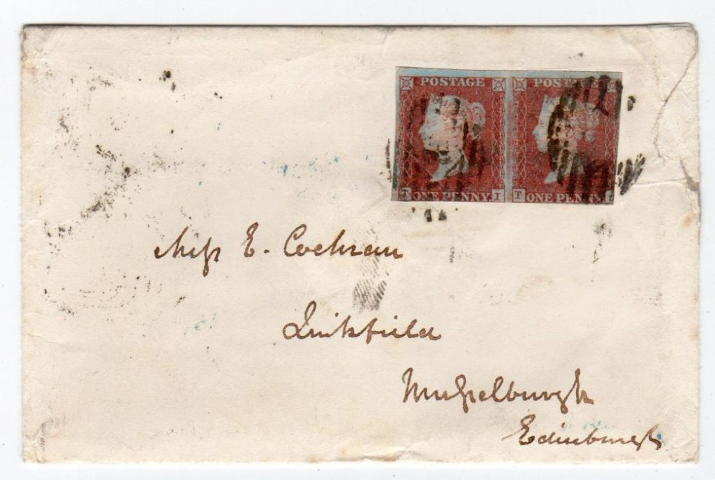 GB - LONDON: 1850 PENNY RED COVER WITH AN OFFICIAL UNPAID MARK.