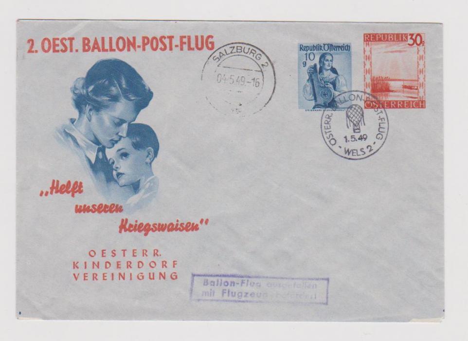 AUSTRIA BALLOON POST FLIGHT 1949