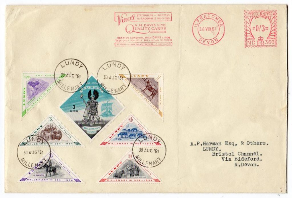 GB - DEVON: 1961 PHILATELIC COVER WITH LUNDY MILLENARY ISSUE.