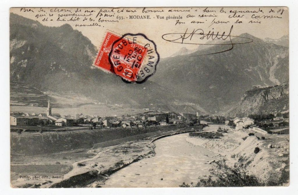 SAVOIE: 1909 PICTURE POSTCARD WITH CHAMBERY A GRENOBLE AMBULANT POSTMARK.