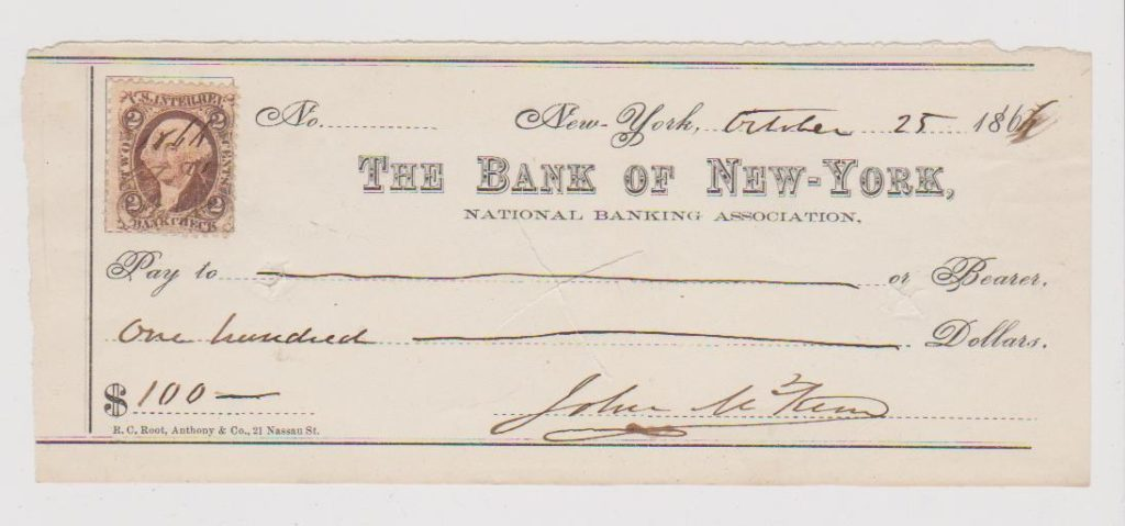 US BANK CHEQUE FOR 100 DOLLARS FRANKED WITH 2C REVENUE STAMP 1864.