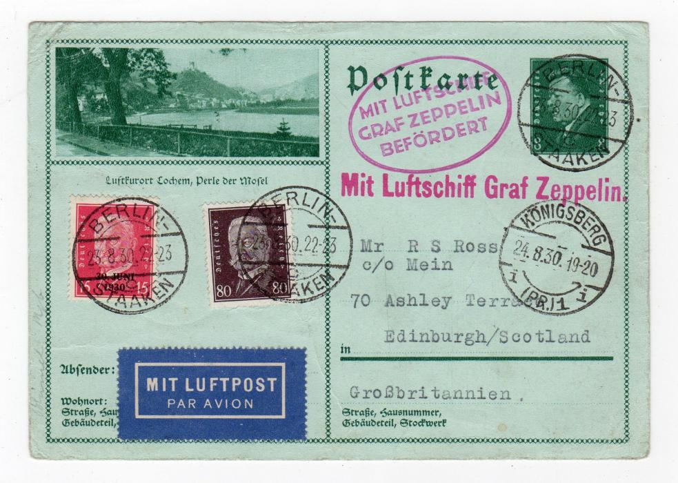 GERMANY: 1930 POSTAL STATIONERY TO SCOTLAND CARRIED BY ZEPPELIN.