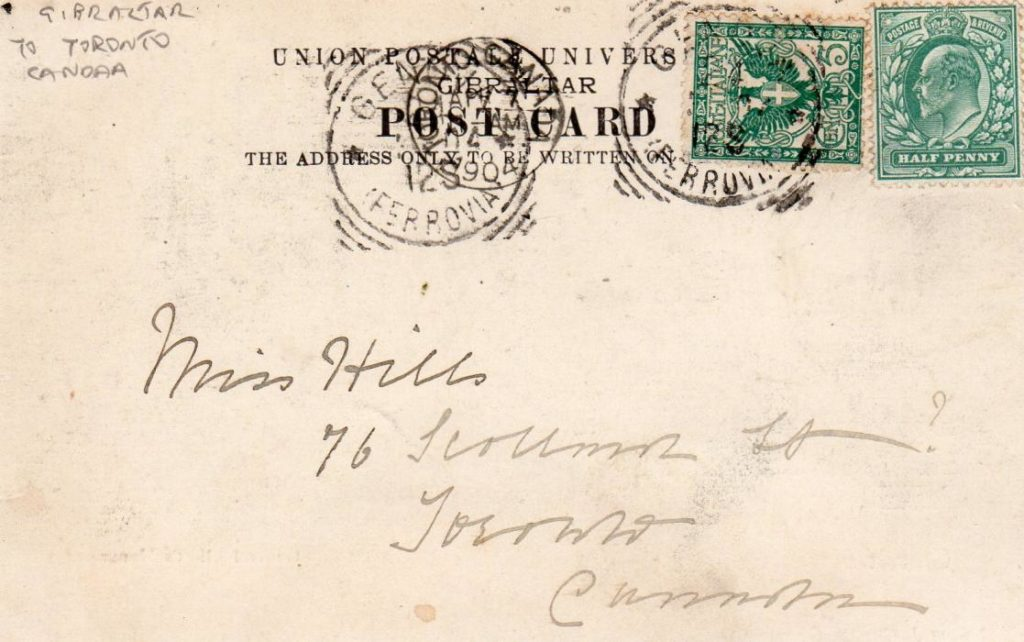 GIBRALTAR: 1904 PICTURE POSTCARD TO CANADA POSTED IN ITALY.
