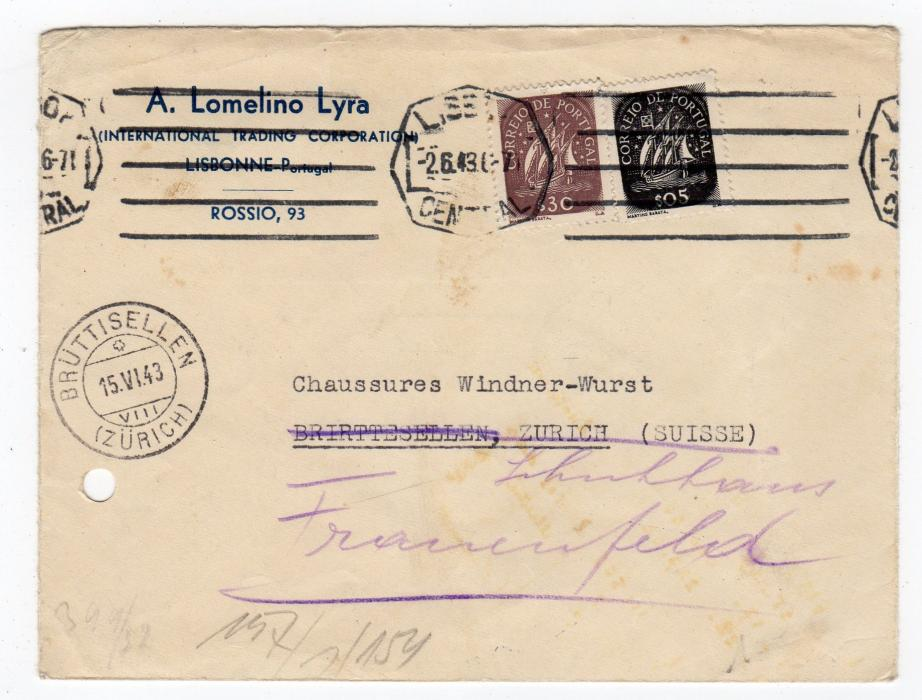 PORTUGAL: 1943 CENSORED COVER TO SWITZERLAND.