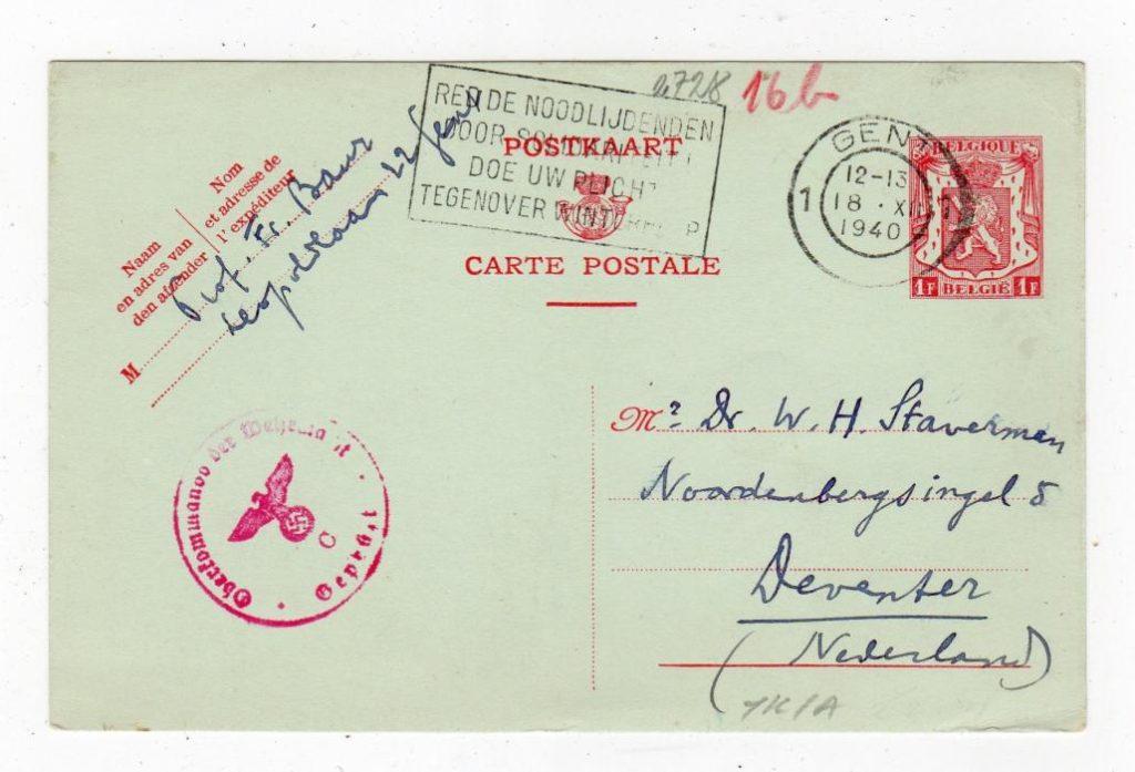 BELGIUM: 1940 CENSORED POSTAL STATIONERY TO NETHERLANDS.