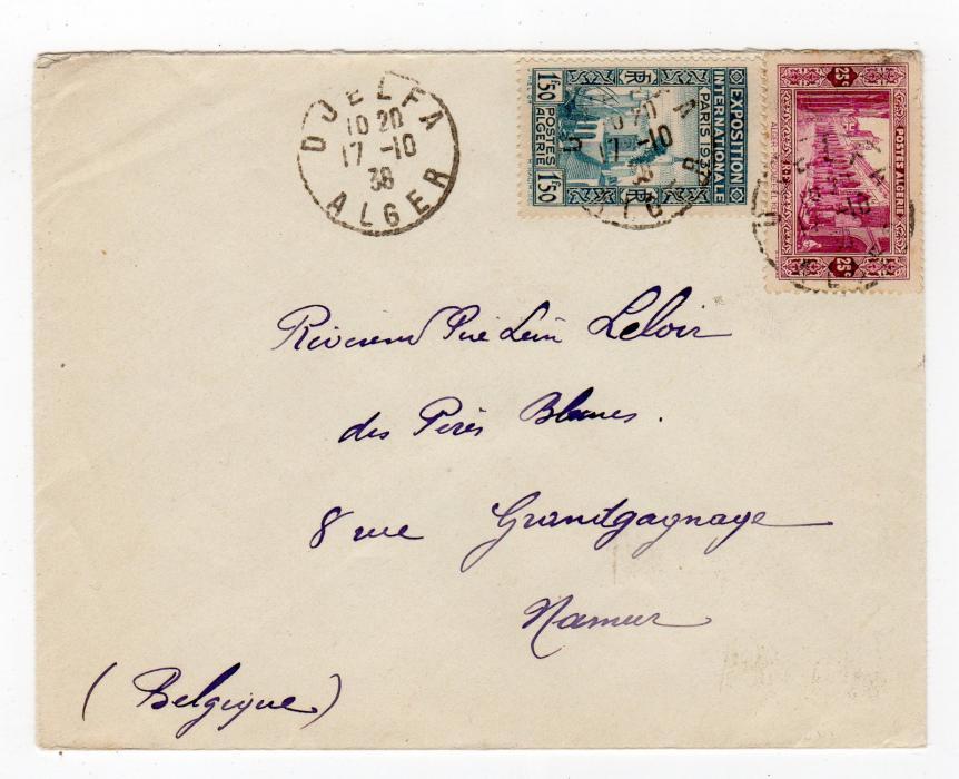 ALGERIA: 1938 COVER TO BELGIUM.