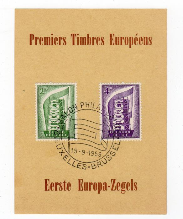 LUXEMBOURG: 1956 FIRST EUROPA STAMPS ON SOUVENIR CARD.