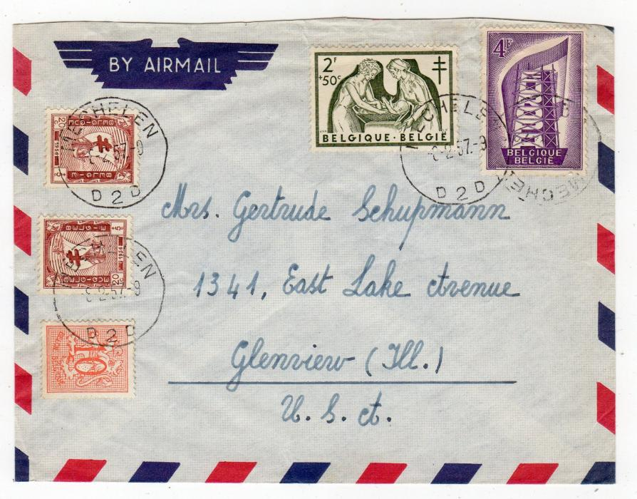 BELGIUM: 1957 AIRMAIL COVER TO USA WITH ANTI-TB STAMPS.