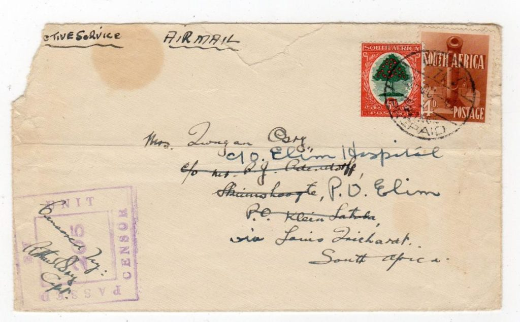 SOUTH AFRICAN FORCES IN EGYPT: 1941 CENSORED COVER TO SOUTH AFRICA.
