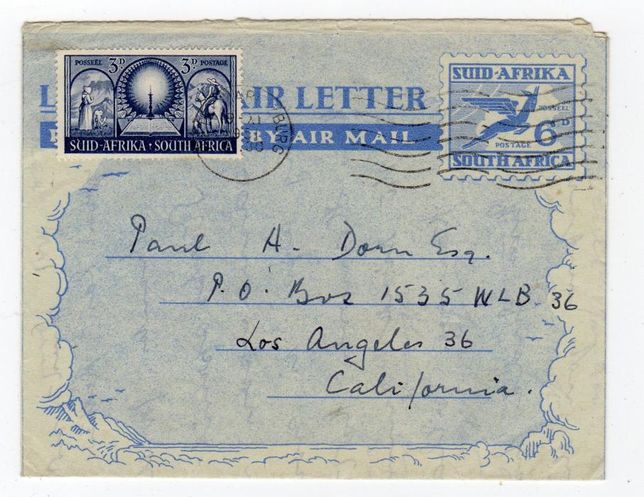 SOUTH AFRICA: 1951 UP-RATED AIRLETTER TO USA.