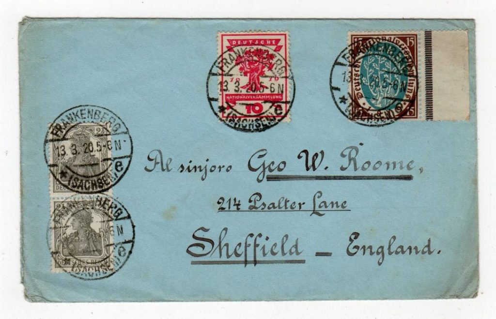 GERMANY: 1920 COVER TO ENGLAND USING A TURNED ENVELOPE.