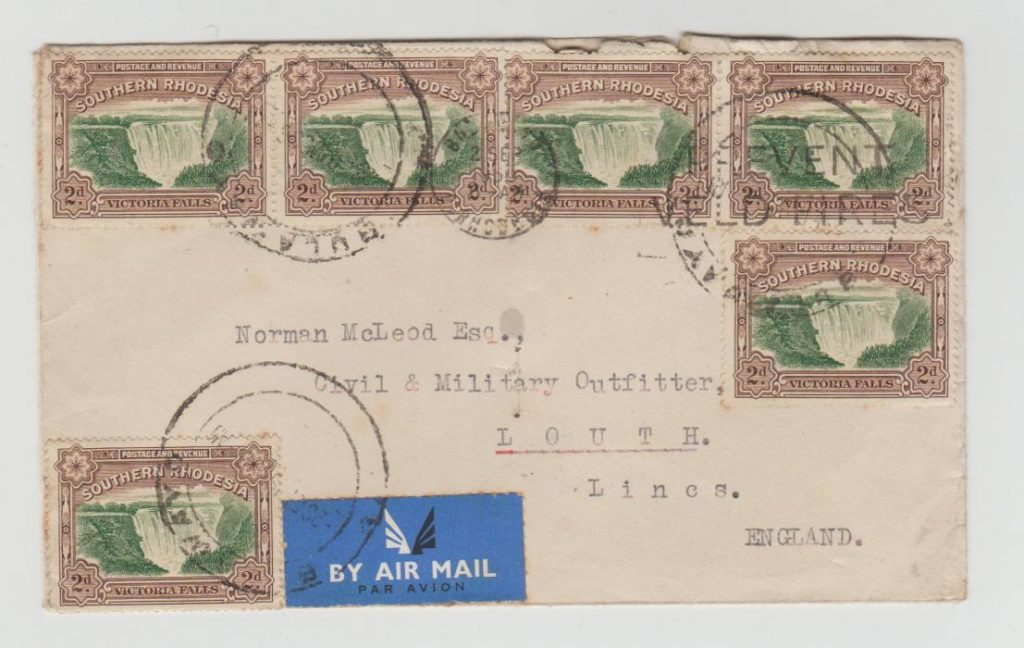 SOUTHERN RHODESIA 6 X 2d VICTORIA FALLS ISSUE ON AIRMAIL LETTER TO LINCOLNSHIRE