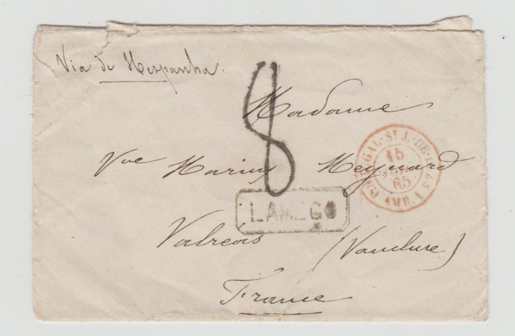 LETTER PORTUGAL TO FRANCE 1865 WITH FRENCH ENTRY MARK