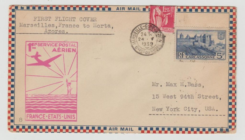 FRANCE FIRST FLIGHT COVER TO HORTA 1939