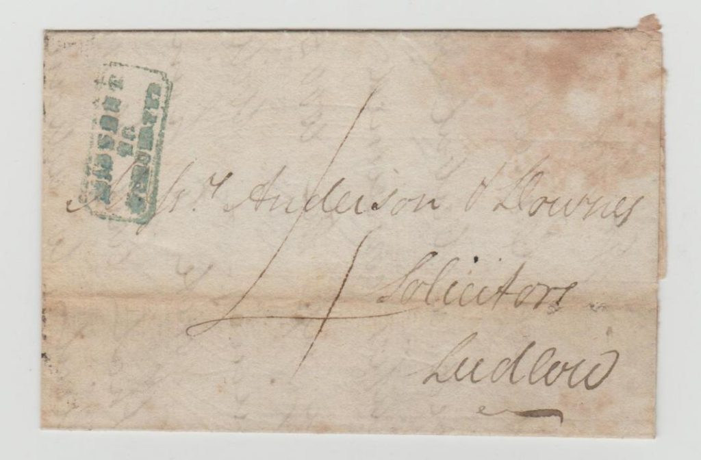 GB LETTER FROM TENBURY TO LUDLOW c1835 HANDSTAMPED 'MISSENT TO WORCESTER'