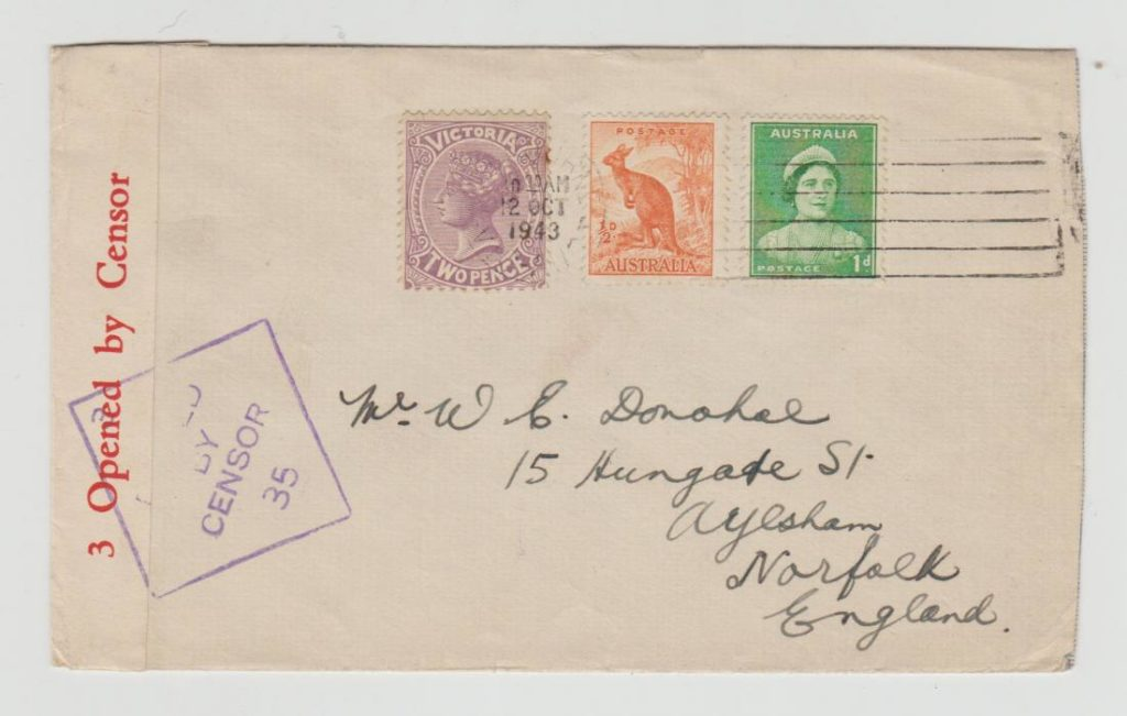 MELBOURNE AUSTRALIA TO NORFOLK WITH MIXED REIGNS FRANKING 1943