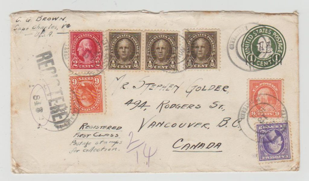 USA MULTI-FRANKED ENVELOPE REGISTERED TO CANADA 1925