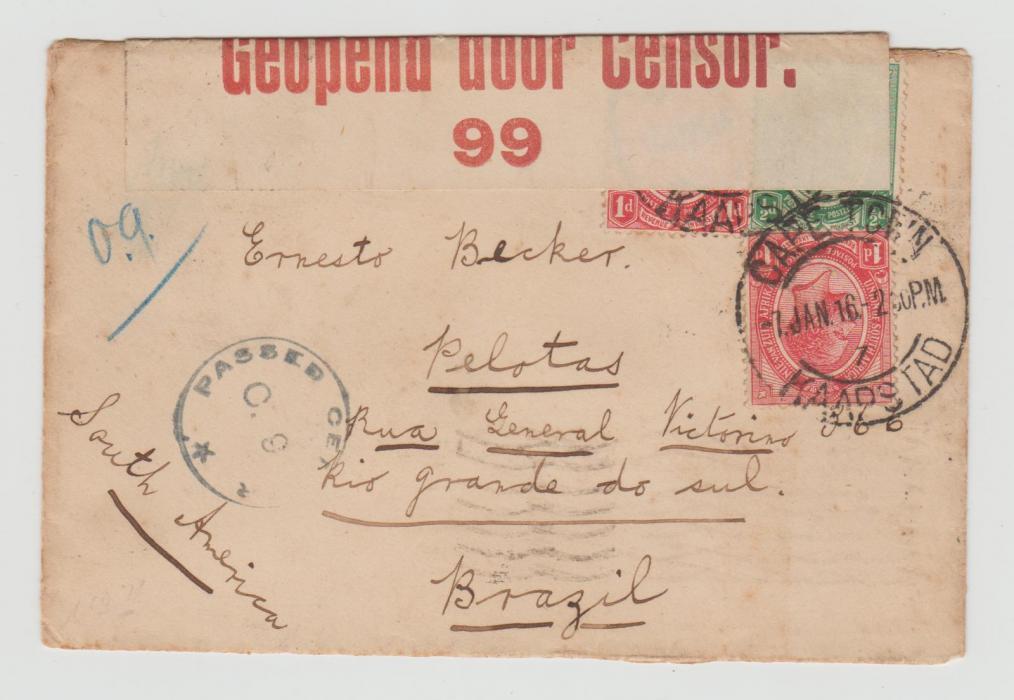 SOUTH AFRICA CENSORED ENVELOPE TO BRAZIL 1916