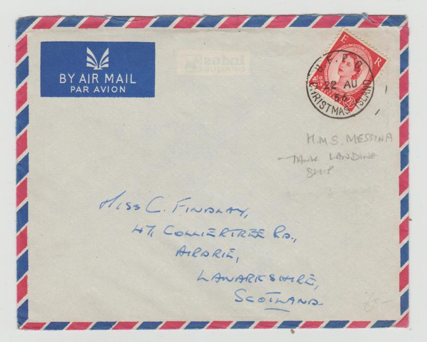 GB 2½d WILDING ISSUE USED ON CHRISTMAS ISLAND 1956