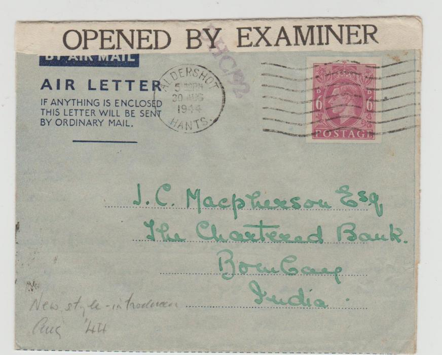 AIRLETTER TO BOMBAY CENSORED 1944