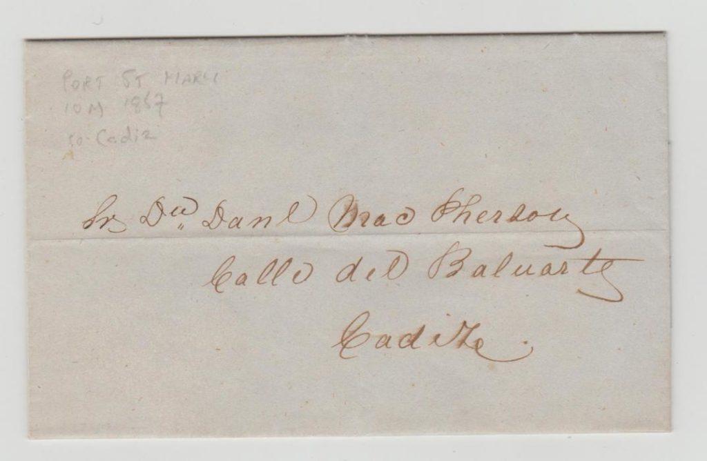ISLE OF MAN LETTER TO CADIZ 1857