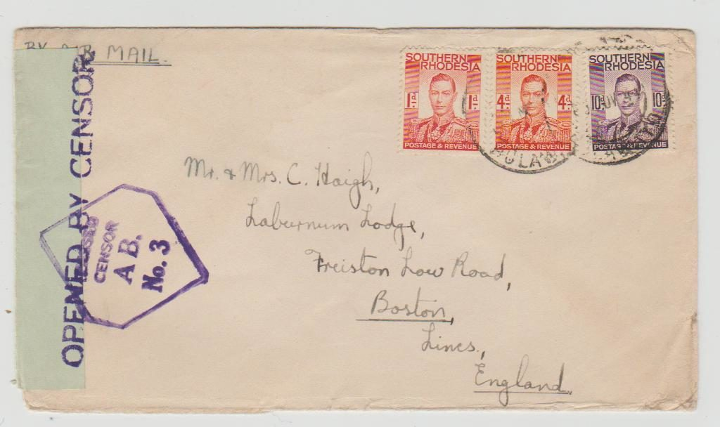 SOUTHERN RHODESIA TO UK CENSORED 1944