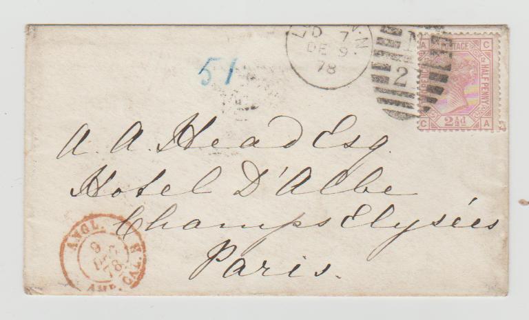 GREAT BRITAIN LONDON TO PARIS 1878