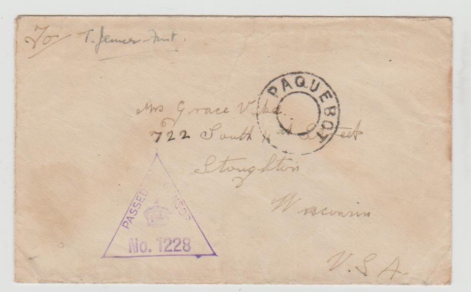 ENVELOPE FROM SOUTH AFRICA(?) TO USA c1942