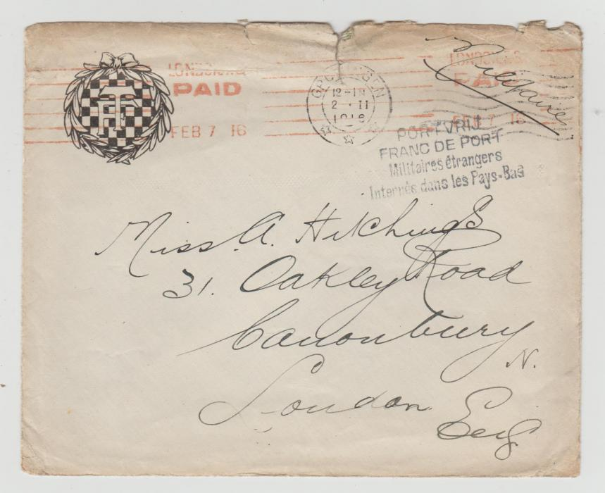 ENVELOPE FROM A BRITISH INTERNEE IN HOLLAND 1916