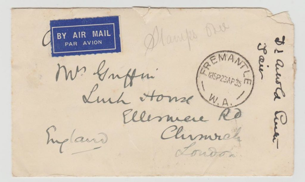 AUSTRALIA MULTI-FRANKED AIRMAIL TO CHISWICK 1935