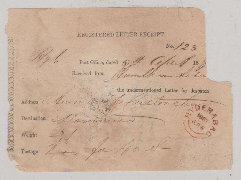 INDIA HYDERABAD REGISTERED LETTER RECEIPT 1867