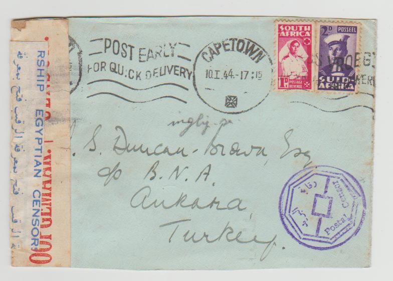 SOUTH AFRICA 2 BANTAM ISSUES ON CENSORED COVER TO TURKEY 1944