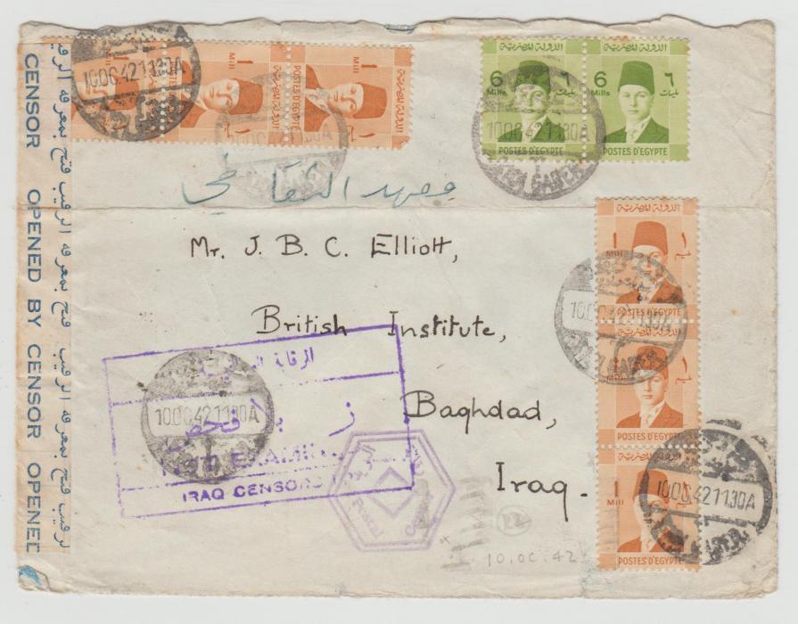 EGYPT MULTI-FRANKED ENVELOPE TO IRAQ 1942