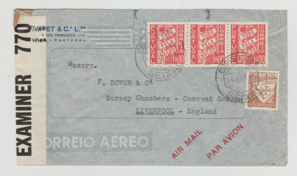 PORTUGAL SEIXAL TO LIVERPOOL 1943