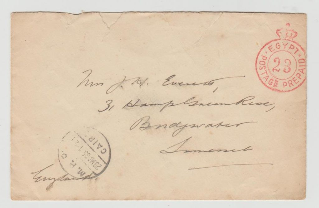 EGYPT PREPAID ENVELOPE TO BRIDGWATER WITH BRITISH FORCES FRANK 1935