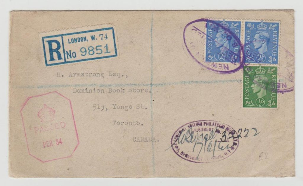GB REGISTERED ENVELOPE 1942 WITH BPA EXPORT CONTROL CACHET