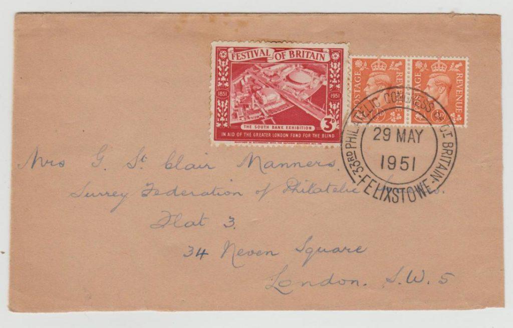 GB PHILATELIC CONGRESS 1951 + LABEL