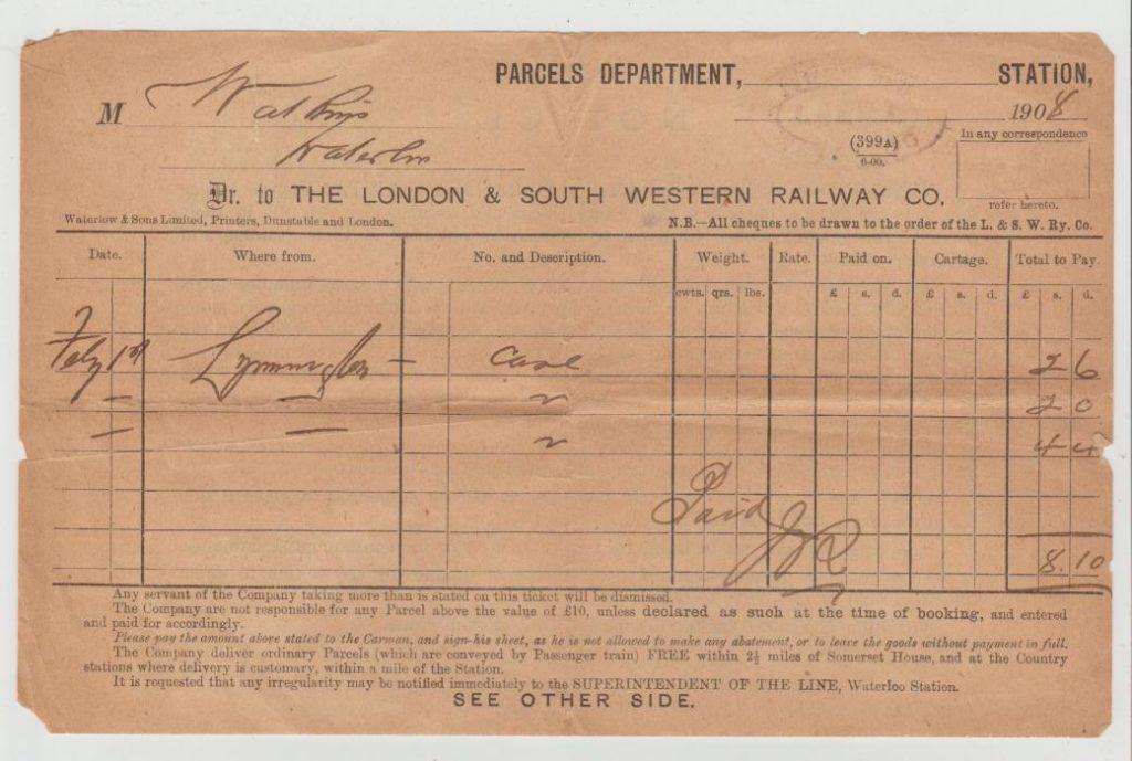 GB RAILWAY PARCELS DOCUMENT 1908