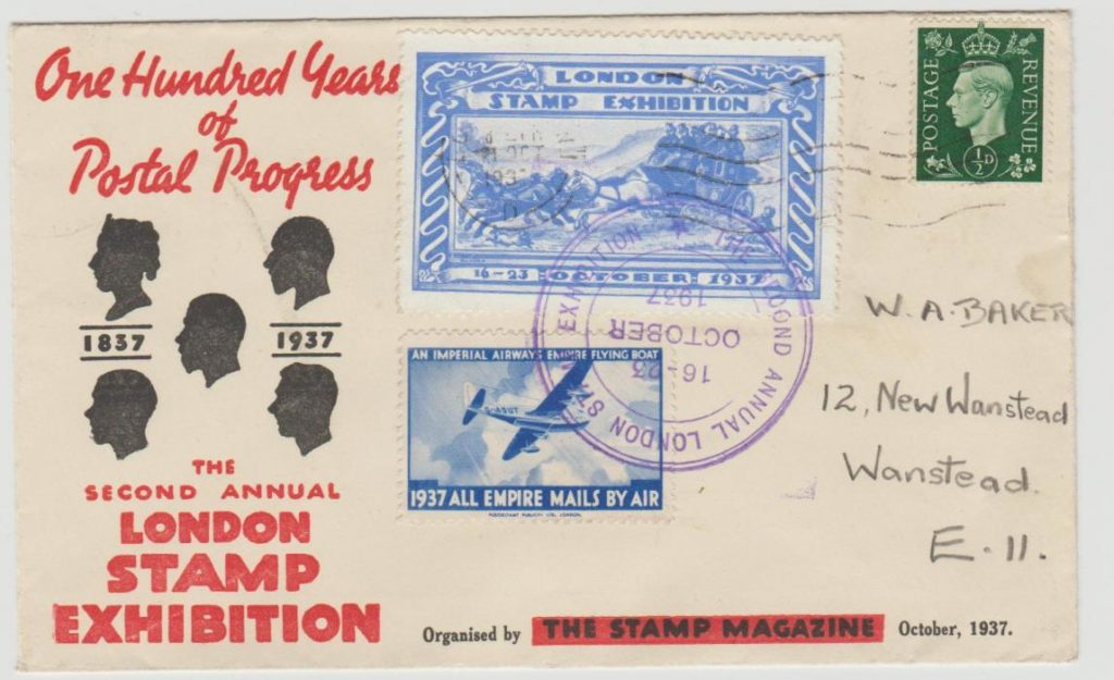 GB LONDON STAMP EXHIBITION COMMEMORATIVE CARD WITH LABELS 1937