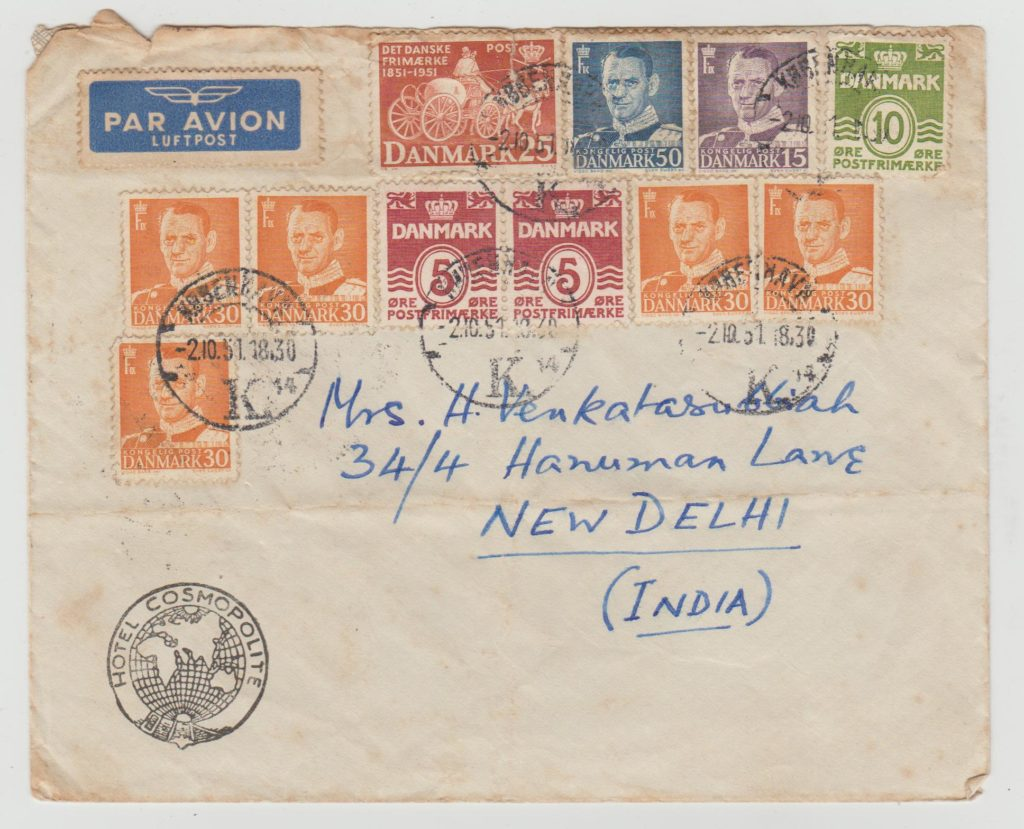 DENMARK MULTI-FRANKED AIRMAIL TO INDIA 1951