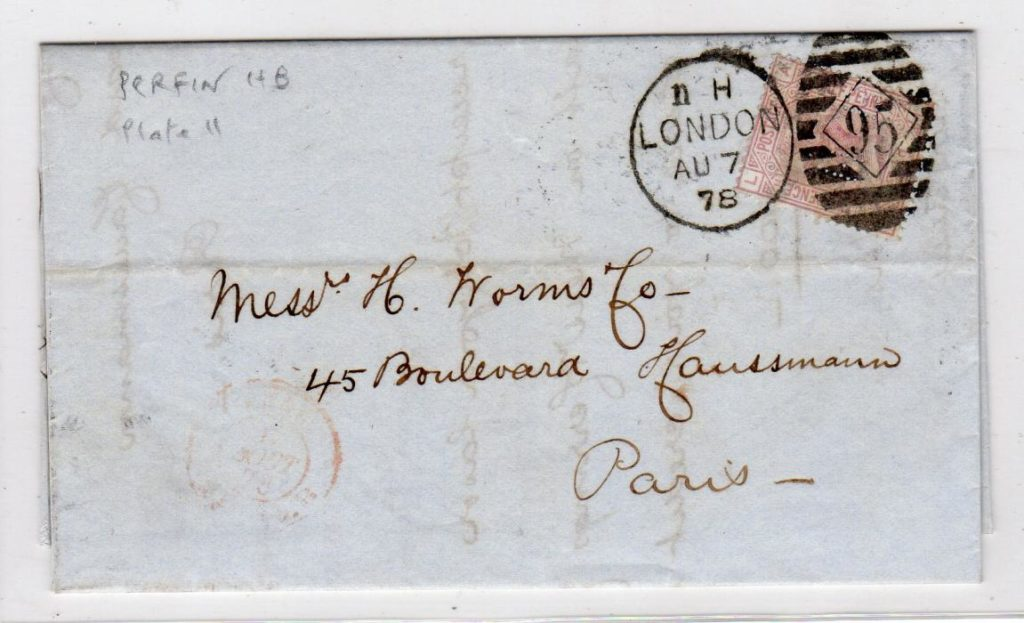 """GB-LONDON: 1878 ENTIRE TO FRANCE WITH """"HB"""" PERFIN."""