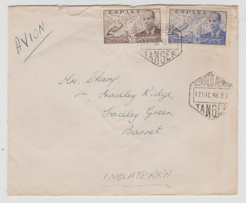 SPANISH STAMPS USED IN TANGIER 1948